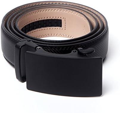 28-60 Black Leather Belts for Men Big and Tall with Removable Buckle Automatic Ratchet Belt Adjustable Dress Belt