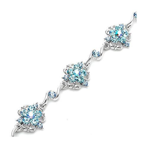 Glamorousky Antique Chain Bracelet with Blue Austrian Element Crystals 1558