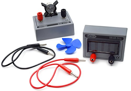 Solar Cell and Miniture Motor Fan Kit - Includes Solar Cell Unit, Miniture Motor Fan and Banana Plugs - Great for Physics Experiments - Eisco labs