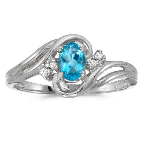 (0.44 Carat ctw 14k Gold Oval Blue Topaz & Diamond Bypass Swirl Engagement Anniversary Fashion Ring - White-gold, Size 10)