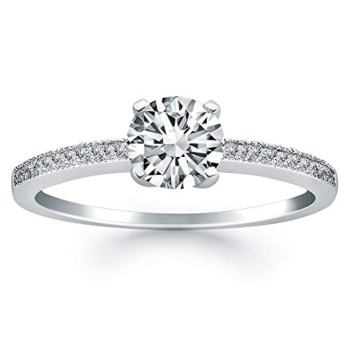 1/2 ct Diamond Soliatire Round Brilliant Cut 14k White Gold Wedding Engagement Ring, I-J,SI, Certified