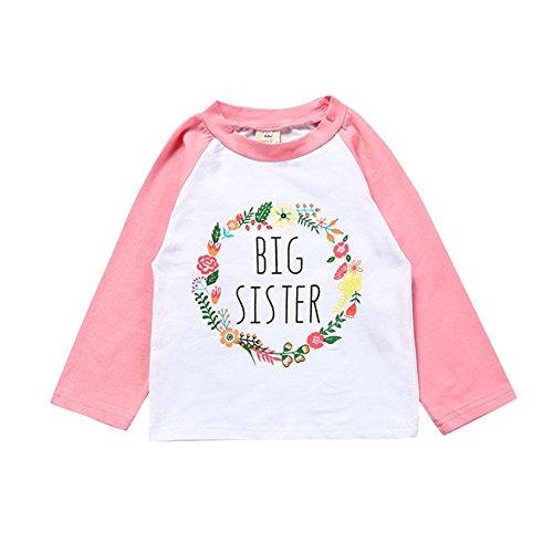 Kingte Toddler Girls Big Sister T Shirt Matching Little Sister Baby Bodysuits White (2T, Pink Big Long) (Big Sister Toddler T-shirt)