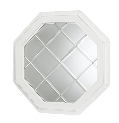 (Park Ridge Vinyl Octagon Fixed Window with Platinum Geometric Diamond Grids & Triple Pane Beveled Glass, 22 x 22)