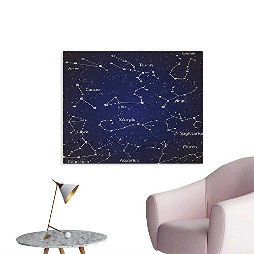 Tudouhoho Constellation Art Poster Doodle Chalk Written Like Set of Zodiac Clusters and Sign Names Photographic Wallpaper Blue Dark Blue White W28 xL20 -