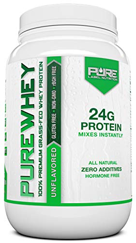 Grass Fed Whey Protein - 2lb Unflavored - 100% Natural, Cold Processed, Undenatured w/No Sweeteners or Added Sugars - rBGH Free, GMO-Free, Gluten Free, Preservative Free - Pure Whey
