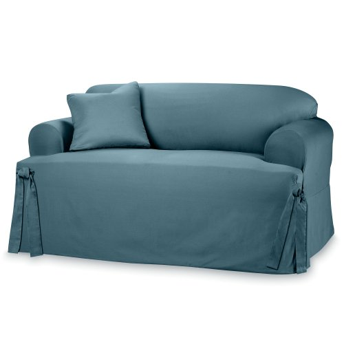 Sure Fit Cotton Duck - Sofa Slipcover  - Bluestone - Fabric Bluestone