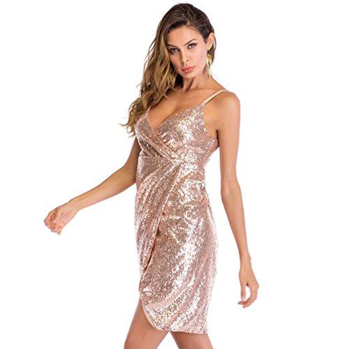 db6de70d3 80%OFF YiLianDaD Vestidos De Fiesta Cortos Mujer Verano Elegantes  Lentejuelas Slim Fit Vestido De