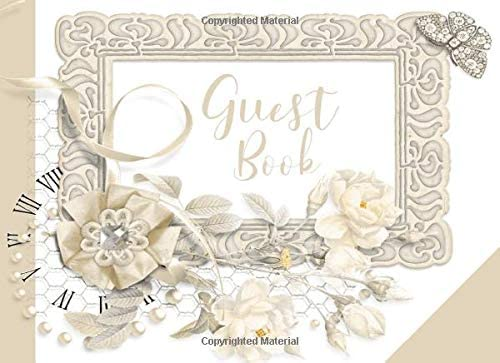 Guest Book Antique Champagne Color Vintage Design I With Gift Log I Happy Thoughts Words Of Wisdom I Wedding Anniversary Vow Renewal Bridal I Invitation Cards Decorations Gift Ideas