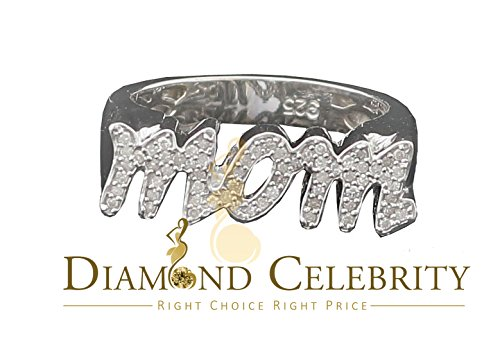 10K White Gold Finish Real 0.25CT Mom's Silver Ring Size 7 by Diamond