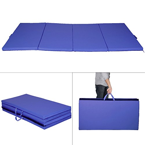New Blue 4'x8'x2'' Gymnastics Mat Thick Folding Panel Gym Fitness Exercise Mat by PUNER Store