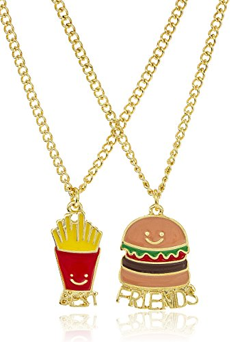 JOTW Goldtone Burger Fries Best Friends 18 Inch Adjustable Necklaces (B-3136)