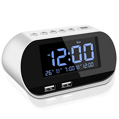Alarm Clock Radio,FM with Sleep Timer,Dual USB Ports for Charging,Dual Alarms,Digital Display with Dimmer,Snooze,Thermometer for Bedrooms,Adjustable Volume,Gift for Kids,Heavy Sleepers (White)