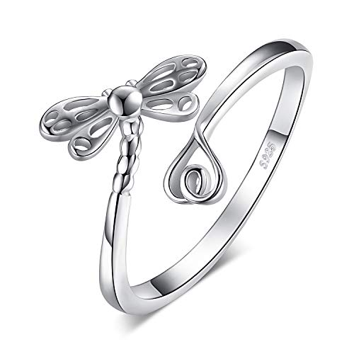- JewelryPalace 925 Sterling Silver Dreamy Dragonfly Long Tail Love Shank Adjustable Open Ring (Resizable Ring)