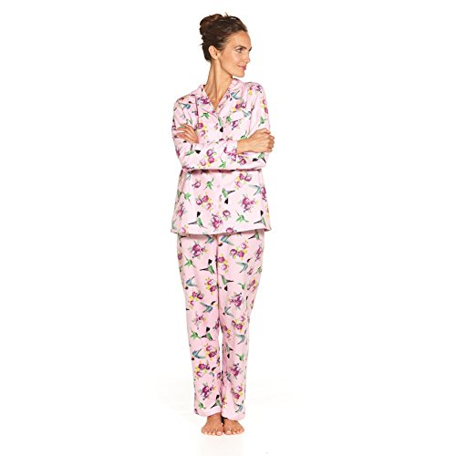 La Cera Women's Hummingbird Flannel Pajamas - Cute PJs - Small