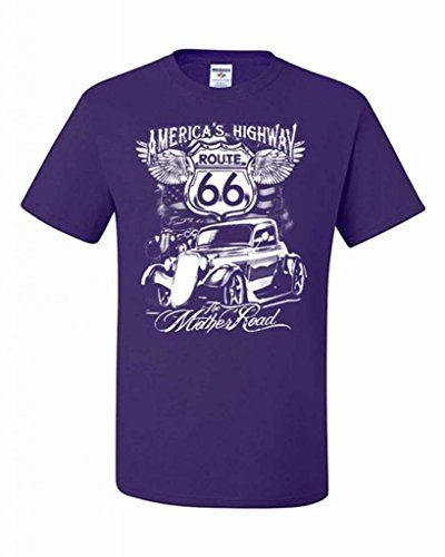 Route 66 T-Shirt America's Highway The Mother Road Biker Motorcycle Retro Shirt 2XL - 66 Route Motorcycle Americas Highway