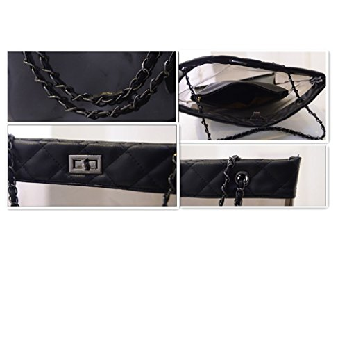 Transparent Trapeze Swimming Clear Chain Bags Womens Beach Black Handbag Tote FTSUCQ Casual Zw1fHxUcq