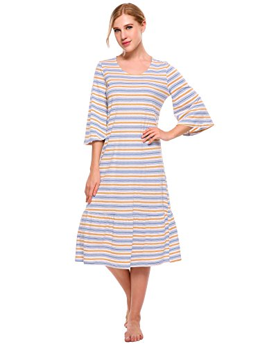 luxilooks Womens Elegant Nightgowns 3/4 Sleeve Striped Sleepwear Comfort Long Sleep Dress(Yarn-Dyed,Small) Orange