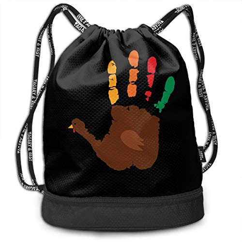 (Chenjunyi Thanskgiving Turkey Hand Print Drawstring Backpack Foldable Gym Tote Dance Bag for Swimming Shopping Sports Women Men Boys)