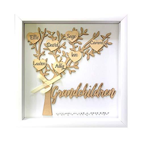 Tasse Verre 12x12 Grandchildren Shadow Box Kit - Family Tree Gift for Grandparents Grandma Grandpa with 7 Hearts and 40 Gems. Gift for Grandparents, Grandma, Grandpa, Nana, Mimi Mothers Day (Grandparents Christmas For Presents)