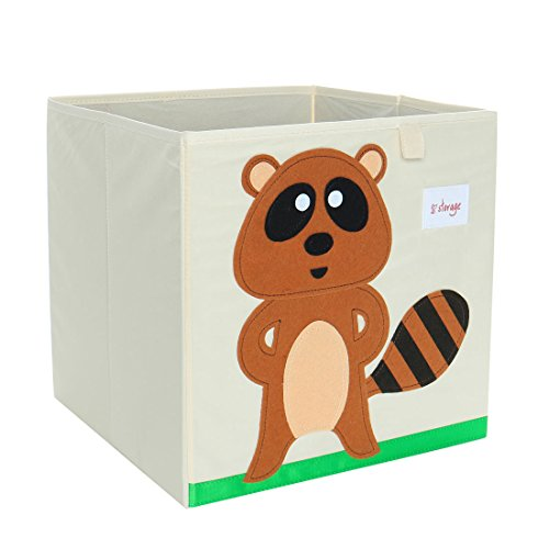 Raccoon Cartoon Animal - PICCOCASA Foldable Toy Storage Bins Square Cartoon Animal Storage Box Eco-Friendly Fabric Storage Cubes Organizer for Bedroom Playroom No Lid Brown Raccoon Pattern 13