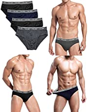 Falari Men's 4-Pack Bamboo Rayon Ultra Soft Lightweight Breathable Briefs or Boxer Briefs Underwear