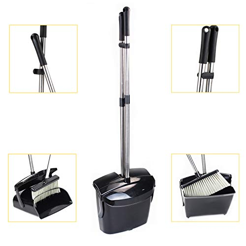 Broom and Dustpan Set, Commercial Long Handle Sweep Set and Lobby Broom,Upright Grips Sweep Set with Broom for Home, Kitchen, Room, Office and Lobby Floor Dust Pan & Broom Combo, Black by Laixiu (Image #6)