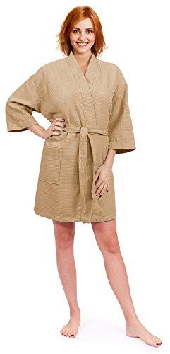 Indulge Premium Linen Women's Thigh Length Waffle Kimono Robe (XX-Large, Taupe)