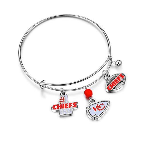 Small Nfl Charm - NFL Kansas City Chiefs Three Charm Logo Bracelet