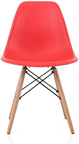 CozyBlock DSW Slope Red Molded Plastic Dining Side Chair