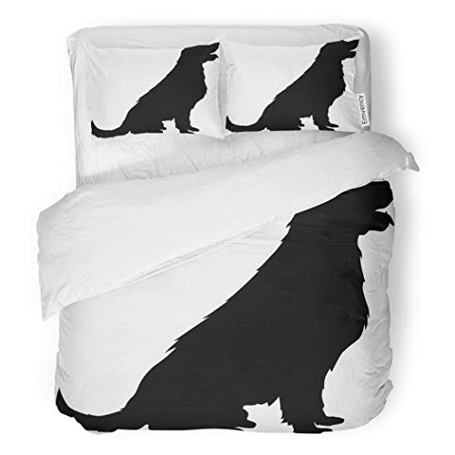 SanChic Duvet Cover Set Labrador Dog Silhouette Lab Black Retriever Happy Puppy Decorative Bedding Set with 2 Pillow Cases King Size