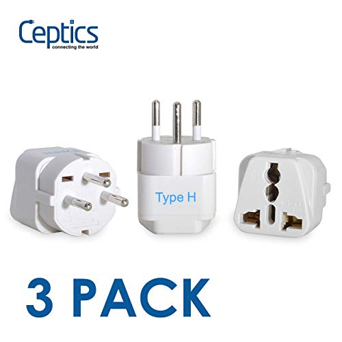 Ceptics Israel Travel Plug Adapter for Israel, Palestine (Type H) - 3 Pack [Grounded & Universal] (GP-14-3PK) (Renewed)