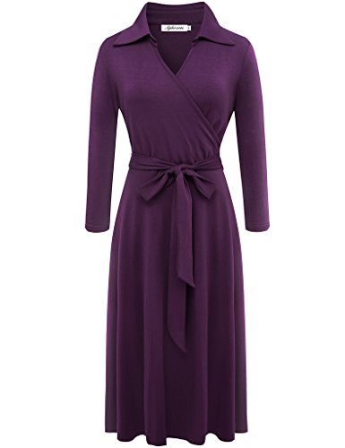 Aphratti Women's 3/4 Sleeve Lapel Collar V Neck Faux Wrap Front Casual Cocktail Dress Medium Purple