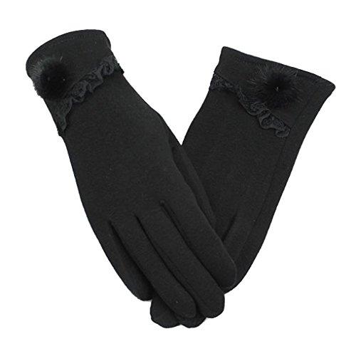 C.A.Z Womens Stylish Cute Touch Screen Winter Warm Wrist Gloves Mittens Fleece Lined Black