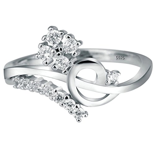ANAZOZ S925 Vintage Cubic Zirconia Unique Silver Wedding Rings for Bride Size ()