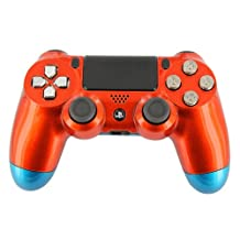 """Orange & Neptune Blue Candy-Paint"" PS4 Custom UN-MODDED Controller Exclusive..."