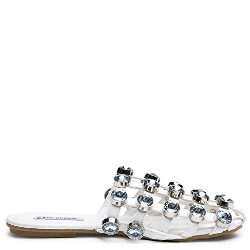 Coma White Caged on Fashion 17 Slip Cape Robbin Slide Jeweled Flat Mule Sandal F5xUq