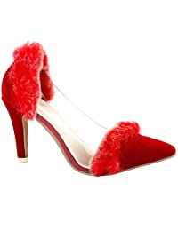 Show Story Glam Red Faux Fur Pointy Toe High Heel Pumps,QT16122
