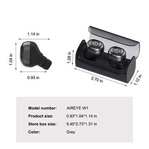 bluetooth wireless earbuds aireye true wireless stereo bluetooth 4 1 headphones with portable. Black Bedroom Furniture Sets. Home Design Ideas