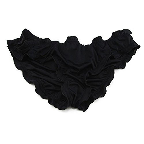 Lazy Cat Sexy Women Ruched Ruffle Cheeky Bikini Bottoms Large Black (Black Bottom Ruffle)