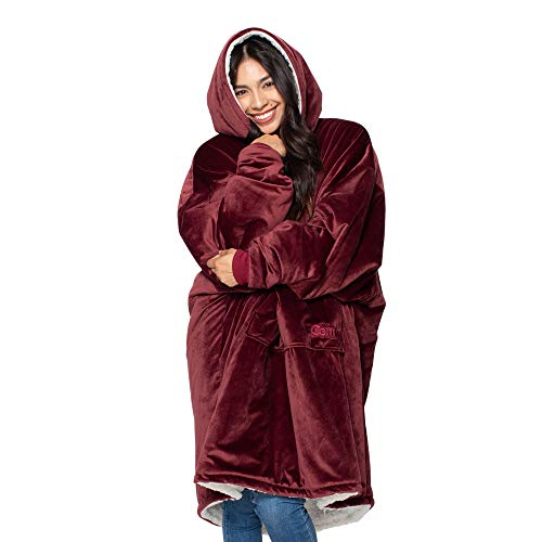 The Original Comfy: Warm, Soft, Cozy Sherpa Blanket Sweatshirt, Seen on Shark Tank, Invented By 2 Brothers, Multiple Colors, For Adults & Children, Reversible, Hood & Large Pocket, One Size (Burgundy)