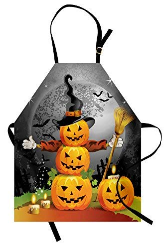Lunarable Halloween Apron, Cute Pumpkins Funny Composition Traditional Celebration Witches Hat Broomstick, Unisex Kitchen Bib Apron Adjustable Neck Cooking Baking Gardening, Multicolor