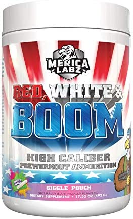 Merica Labz Red, White and Boom, Fully Dosed Preworkout Powder, 20 Huge Scoops Giggle Pouch