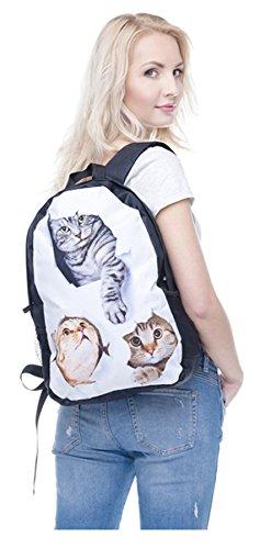 Kukubird agujero gatos diseño mochilas frente impresión lindas blanco