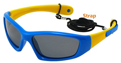 COOLSOME Flexible Rubber Kids Polarized UV Protection Sunglasses for Boys Girls 2-7 Years Old - Glasses Flexible Toddler