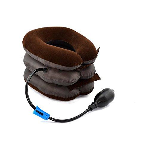 Finlon 3段式エアーネックストレッチャー 頚椎牽引 首伸ばし 首 肩こり 解消 首サポーター 首筋用 エアーパッド 軽量 枕 クッション マッサージ フリーサイズ (ブラウン)