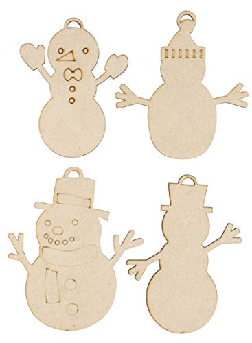 Unfinished Wooden Christmas Ornaments - 24-Pack Paintable Blank Xmas Tree Hanging Wood Slices for Kids DIY Art Crafts, Festive Decoration, 4 Assorted Snowman Designs, 3.2 x 4.1 to 3.9 x 4.7 Inches