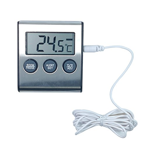 Temperature Alarms Fridge Thermometer Freezer- Indoor Room High&Low Thermometer 2017 New (Metal,White)