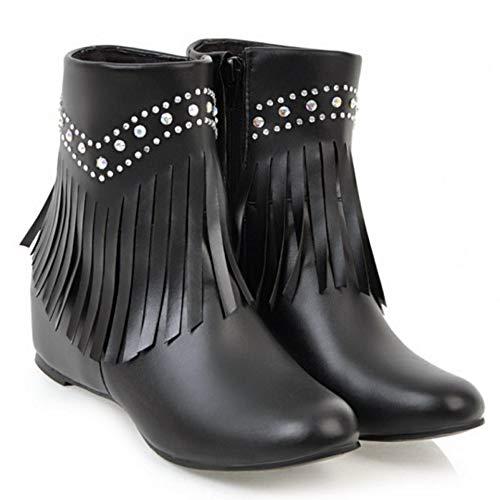 Coolcept Boots Height Fringe Black Increasing Women Zipper arwan8A6q