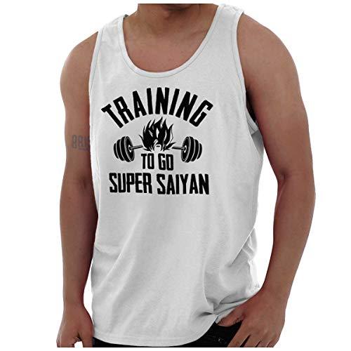Brisco Brands Training To Go Super Saiyan Cool Dragon Ball Z Goku Gym Tank Top Shirt, White, Large ()