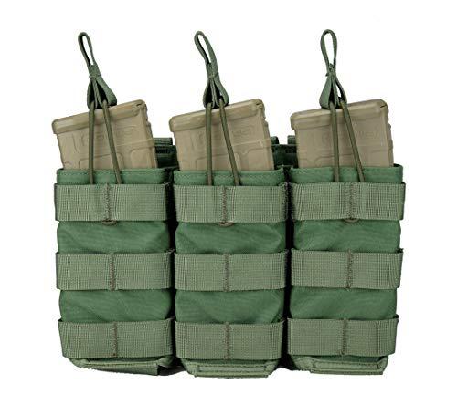 (Modular Universal Triple Rifle (AR / M4 / AK47 / G36 / M14 / SMG) Magazine Pouch, Open Top (Shingle) (Olive Drab))